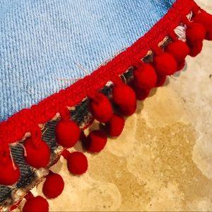 Good American Skirts - 🌟Good American Pom Pom Mini Denim Skirt